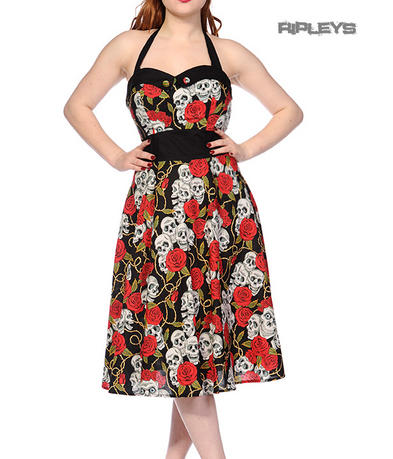 BANNED Goth 50s Dress SKULL & ROSES Rockabilly Pin Up All Sizes